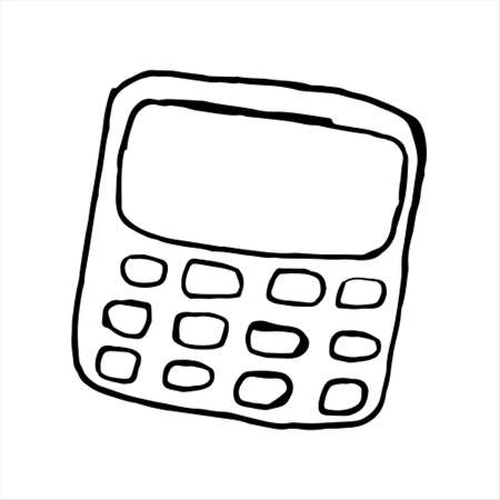 One hand-drawn calculator. Doodle vector illustration. Isolated on a white background, black and white graphics
