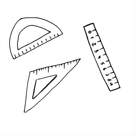 One hand-drawn set of rulers. Doodle vector illustration. Isolated on a white background, black and white graphics Vetores