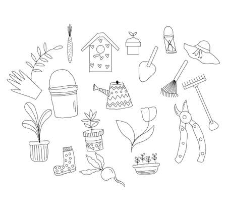 vector Garden Tool Kit Hand-drawn Doodle Style
