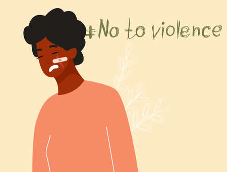 African girl with a wound on her cheek covered with a plaster, a girl who has been subjected to domestic violence, the concept of non-violence