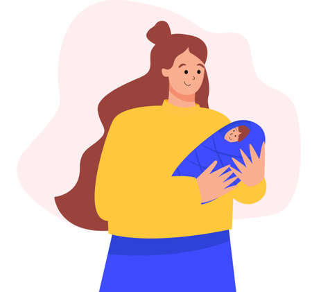 Happy new mother holds her infant baby in her arms. Mom takes care of a small child. Concept illustration in cartoon style.