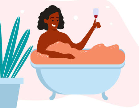 African Woman character taking bath relaxing and drink wine. Vector flat flat simple illustration