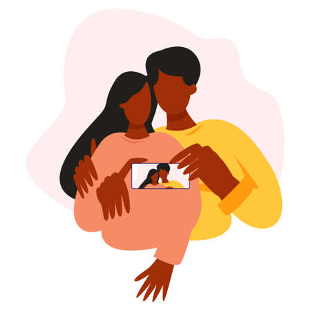 A couple of african men and women taking pictures with their cell phones. A couple in love takes a selfie, a couple of friends. Modern flat colorful vector illustration. Illusztráció