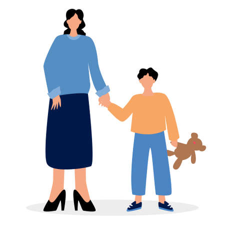Vector illustration. Mother stands with her son. The boy is holding a typewriter on a bear