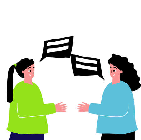 Two hand drawn girls are talking. Two friends talking, live chat
