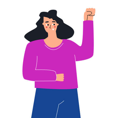 A cute hand-drawn doodle girl holds her fist above her head. The concept of the struggle for women's rights. Expression of emotions. Vector hand drawn illustration on white background.