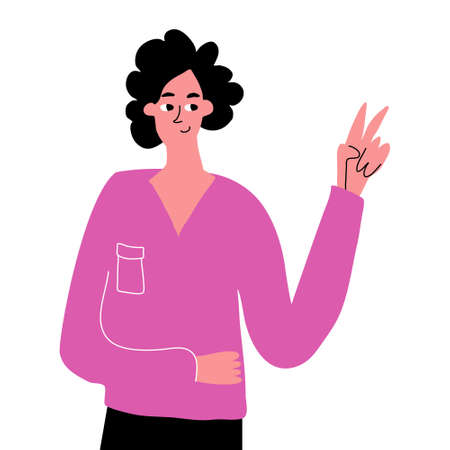 A cute hand-drawn girl shows a peace gesture. Hand gestures, expression of emotions. Vector hand drawn illustration on white background.