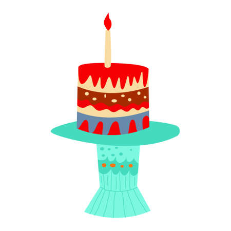 Cute vector cake drawn by hand. Doodle cake with a candle. Children's illustration isolated on a white background