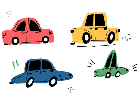 Cool retro cars drawn by hand in the style of doodle. Illustration for children. Cute cartoon cars vector collection isolated on white Illusztráció