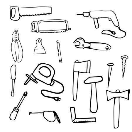 Large set of carpenter's tools hand drawn in doodle style isolated on white background