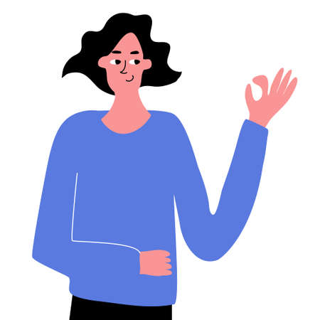A cute hand-drawn girl shows the ok gesture. Hand gestures, expression of emotions. Vector hand-drawn illustration on a white background.