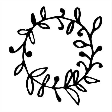 Cute flower Wreath Hand drawn with black outline hand drawn in doodle style Illusztráció