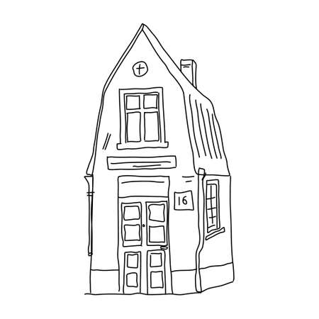 Cute house drawn with a contour sketch style. Hand-drawn house icon