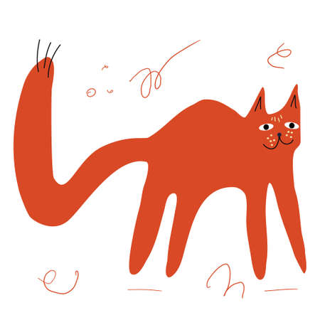 A cute cat hand-drawn in a doodle style. Vector illustration for children's books, postcards in a simple sweatshirt style by hand. Vector illustration in the Scandinavian style