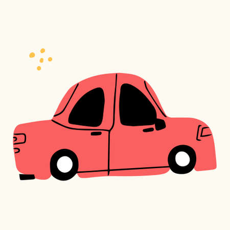 A cute car, hand-drawn in a doodle style. Vector illustration for children's books, postcards in a simple sweatshirt style by hand. Vector illustration in the Scandinavian style