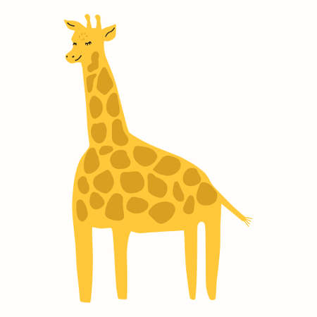 A cute giraffe hand-drawn in a doodle style. Vector illustration for children's books, postcards in a simple sweatshirt style by hand. Vector illustration in the Scandinavian style