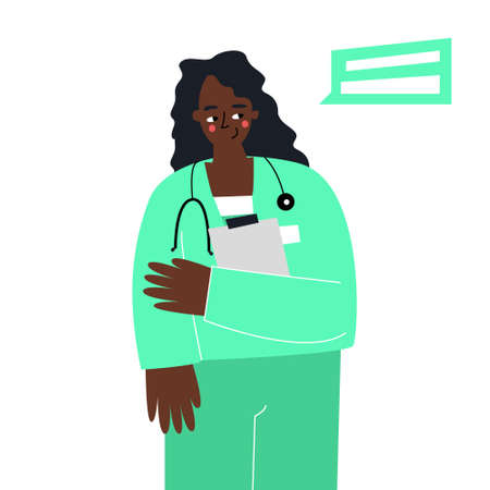 Hand-drawn doctor woman with documents in her hands. A satisfied female therapist. Vector medicine. Trending doodle illustration
