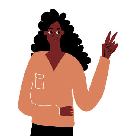 A cute hand-drawn african girl shows a peace gesture. Hand gestures, expression of emotions. Vector hand drawn illustration on white background.