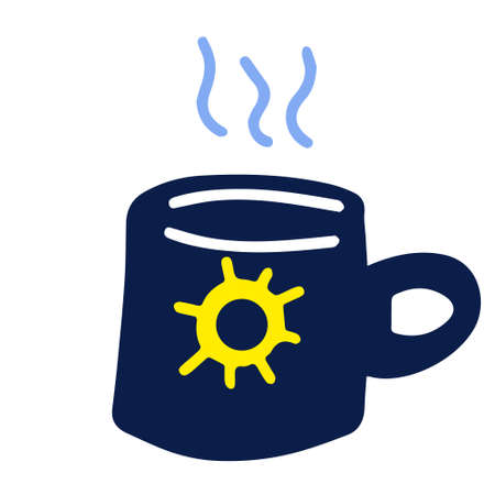 A cute mug with the sun painted on it, hand-drawn in a doodle style. Vector illustration for children's books, postcards. Vector illustration in the Scandinavian style