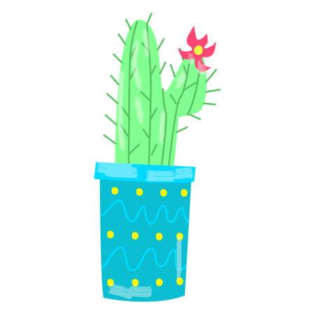 Cute cactus in a pot. Hand-drawn cactus, children's illustration Vektorgrafik