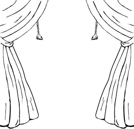 Drawn sketch of curtains as a design element. Vector Çizim