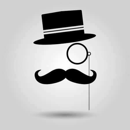 black head and moustache: men moustache, glasses and hat. Vector illustration