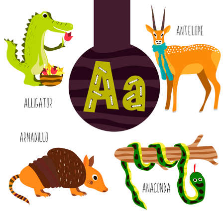 anaconda: Fun animal letters of the alphabet for the development and learning of preschool children. Set of cute forest, domestic and marine animals with the letter a. Vector illustration