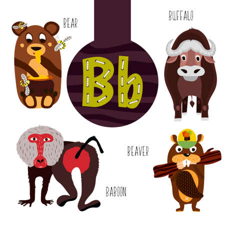 Fun animal letters of the alphabet for the development and learning of preschool children. Set of cute forest, domestic and marine animals with the letter b. Vector illustration