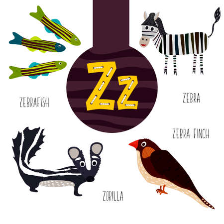 Fun animal letters of the alphabet for the development and learning of preschool children. Set of cute forest, domestic and marine animals with the letter z. Vector illustration