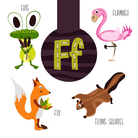 Fun animal letters of the alphabet for the development and learning of preschool children. Set of cute forest, domestic and marine animals with the letter f. Vector illustration Illusztráció