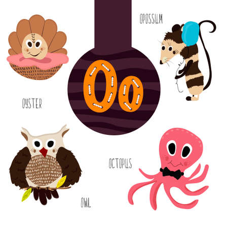 opossum: Fun animal letters of the alphabet for the development and learning of preschool children. Set of cute forest, domestic and marine animals with the letter o. Vector illustration Illustration