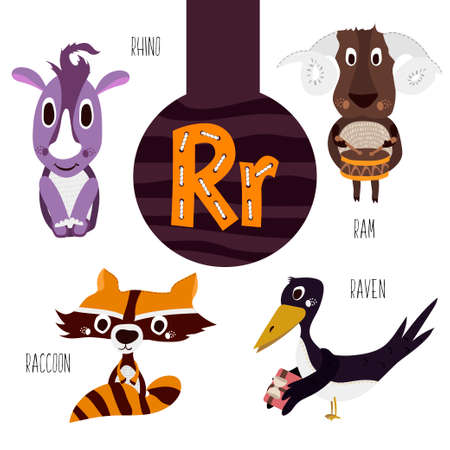 ram horn: Fun animal letters of the alphabet for the development and learning of preschool children. Set of cute forest, domestic and marine animals with the letter r. Vector illustration Illustration