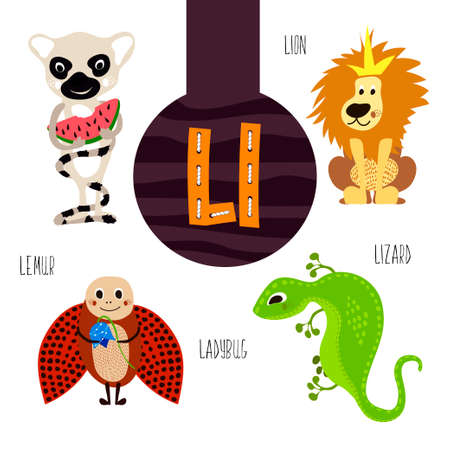 l: Fun animal letters of the alphabet for the development and learning of preschool children. Set of cute forest, domestic and marine animals with the letter l. Vector illustration Illustration