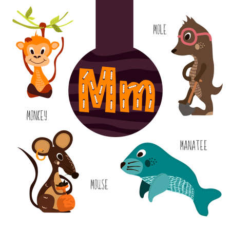 manatee: Fun animal letters of the alphabet for the development and learning of preschool children. Set of cute forest, domestic and marine animals with the letter m. Vector illustration Illustration