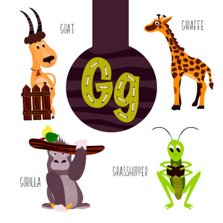 g giraffe: Fun animal letters of the alphabet for the development and learning of preschool children. Set of cute forest, domestic and marine animals with the letter g. Vector illustration