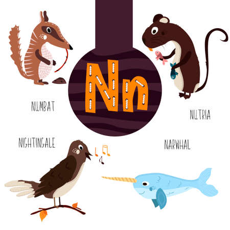 melodies: Fun animal letters of the alphabet for the development and learning of preschool children. Set of cute forest, domestic and marine animals with the letter n. Vector illustration Illustration