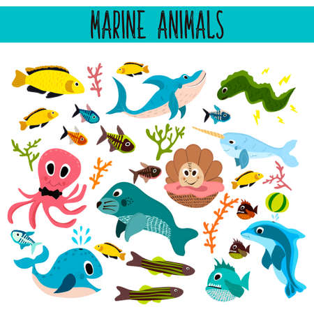 Cartoon Set of Cute sea Animals and living underwater in the waters of the seas and oceans .Shark, fish, piranha, octopus, ,manatee, whale, Dolphin, narwhal, corals and algae . Vector illustration Vettoriali
