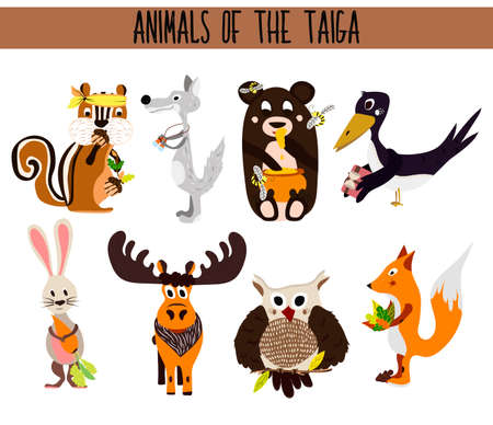 crow: Set of Cute cartoon Animals birds living in taiga. Owl, Fox, hare, elk, bear, crow, Chipmunk, and wolf. Vector illustration Illustration
