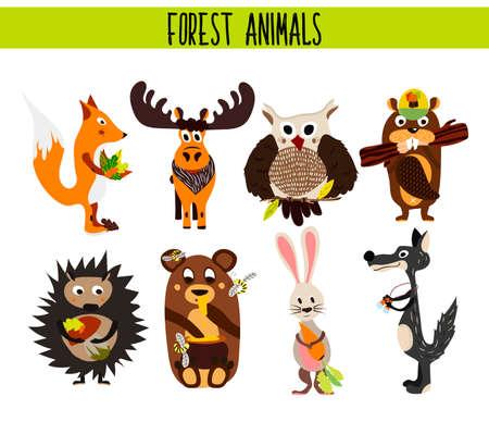 castor: Conjunto de dibujos animados de Woodland lindo y los animales del bosque alces, búho, lobo, zorro, conejo, castor, oso, alces aislados en un fondo blanco. ilustración vectorial