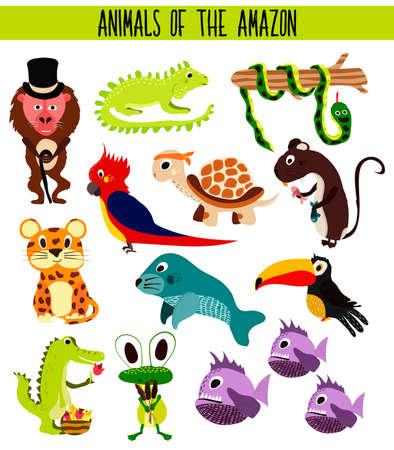 amazon: Set of Cute cartoon Animals and birds of the Amazon areas of South America isolated on white background. Jaguar, crocodile, piranha, Anaconda, Toucan, monkey, parrot and iguana. Vector illustration Illustration