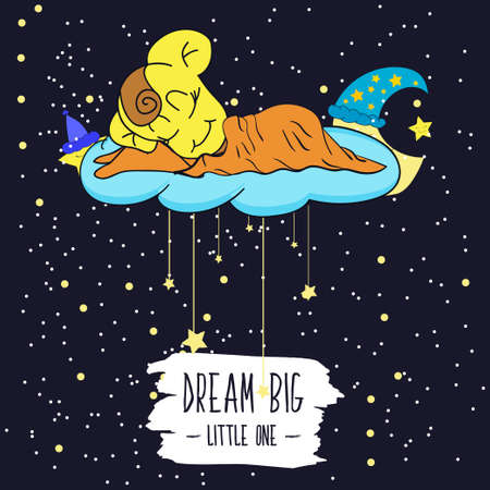 little one: Cartoon illustration of hand drawing of a smiling moon, the stars and the sleeping child. Dream big little one. Vector illustration