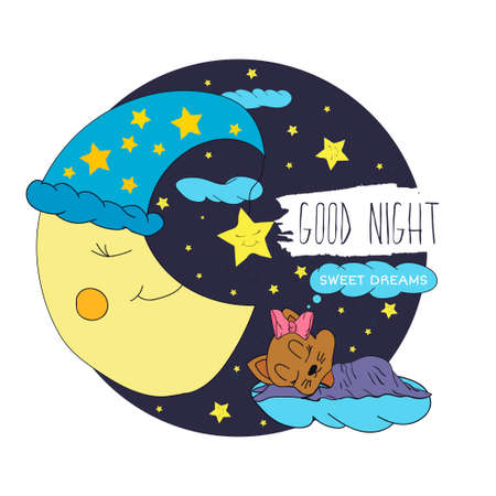 sweet dreams: Cartoon illustration of hand drawing of a smiling moon, the stars and sleeping babies wishing good night and sweet dreams in the starry sky.