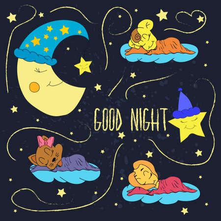 buonanotte: Illustrazione del fumetto di disegno a mano di una luna sorridente, le stelle ed i bambini che dormono desiderano buona notte nel cielo stellato. Vettoriali