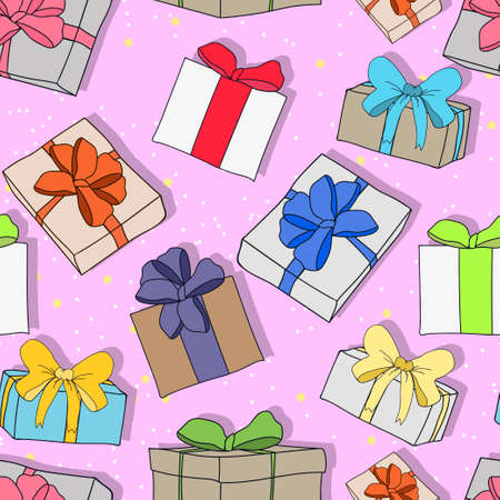 festive pattern: Seamless colorful festive pattern with gifts