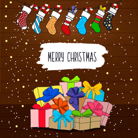 string of christmas lights: Cute cartoon illustration on the theme of merry Christmas and a happy new year with gifts and surprises and a garland of colorful Christmas socks on wooden background.  Illustration