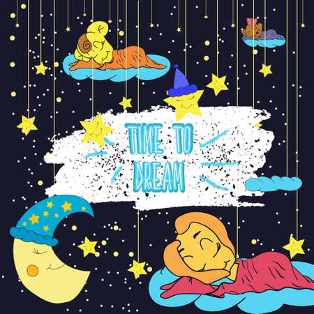 sleeping child: Cartoon illustration of hand drawing of a smiling moon, the stars and the sleeping child.