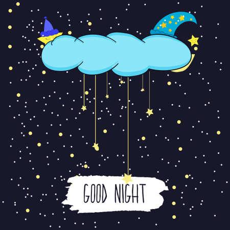 dia y la noche: Ilustración de dibujos animados de dibujo de la mano de una luna sonriente y las estrellas que desean una buena noche en el cielo estrellado.