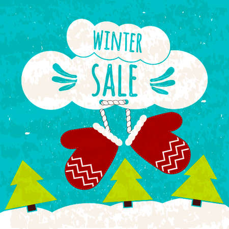 stock quote: Juicy colorful typographic poster with the text about winter discounts and lower prices.