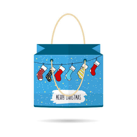 holiday shopping: Paper Shopping Bags collection for the holiday merry Christmas and happy new year isolated on white background.  Illustration