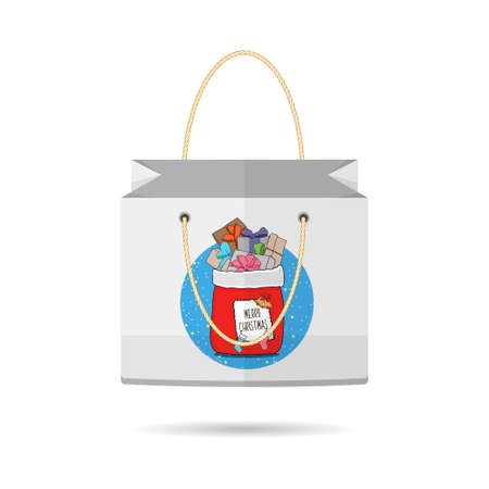 holiday shopping: Paper Shopping Bags collection for the holiday merry Christmas and happy new year isolated with Christmas bag with gifts on white background. The design of the bag. Vector illustration